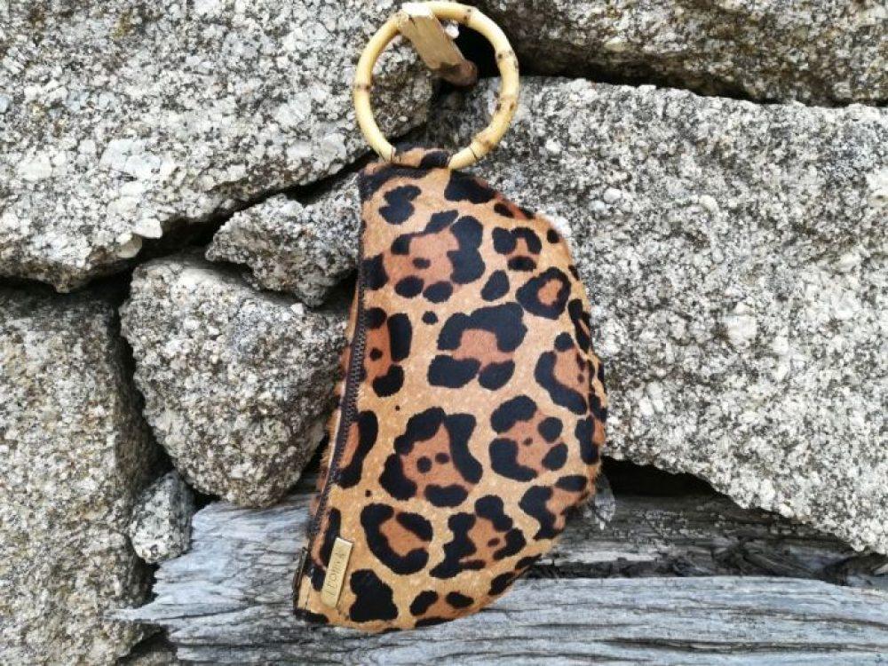 cartera animal print asa bambu, bolso de mano piel asa bambu, cartera leopardo asa bambu mujer